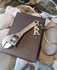 Silver Alloy Adjustable Spanner Wrench Keyring. Father Gift. Personalised.