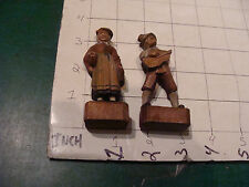 vintage original carved wooden figures, man and woman, as is