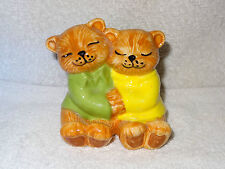 Hand Made Hand Painted Kitty Cat Hugging In Love Porcelain Figurine- Made in USA