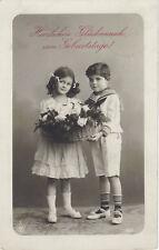 Cute German Children-Sailor Suit-Flower Basket-Vintage RPPC-Real Photo Postcard