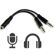 Adaptador Conversor Jack Hembra 4 Polos a Doble Macho 3,5mm Audio y Mic PC a1063