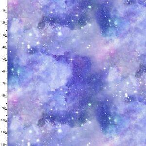 3 Wishes Fabric - Magical Galaxy Blue & Purple Sky With Glitter YARD