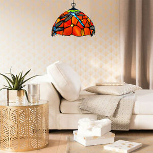 DRAGONFLY TIFFANY STYLE MULTICOLORED STAINED GLASS PENDANT LAMPS FOR LIVING ROOM