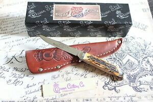Queen Cutlery Classic USA #85 Burnt Stag Fixed Blade Leather Sheath Knife NIB
