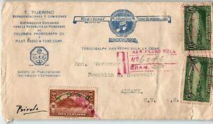 Honduras Postal History: LOT #5 1932 REG 22c (10c T.S. de C.) SPS - ALBANY $$$$