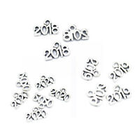 50Pcs Year Number 2018/2019/2020 Tibetan Alloy Fashion Pendants Silver 14*9mm