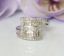 Gorgeous 14K White Gold 1ct Natural Diamonds Sparkling Invisible Setting  Ring