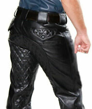 Men's Real Cowhide Leather Punk Kink Quilted Jeans Trousers BLUF Pants Bikers