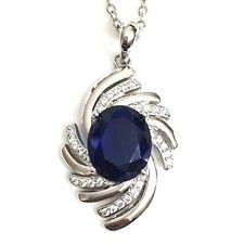 Blue Oval Sapphire Diamond Gemstone Pendant Necklace 18 Chain WBP21