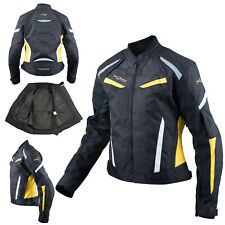 Ladies Textile Jacket Motorcycle Motorbike Armour CE Sport Touring Fluo
