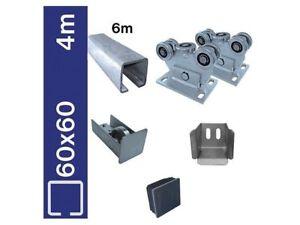 Bodenführung-Set 60x60mm Laufwerk freitragend, Bausatz für Schiebetor L 4m Zn