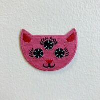 Cute Pink cat with Three Eyes Animal Iron Sew on Embroidered Patch
