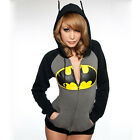 Womens Batman Print Hoodie Sweatshirt Hooded Coat Jacket Zip Jumper Pullover Top