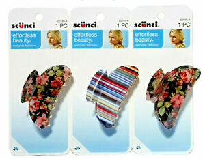 Scunci Effortless Beauty Printed Jaw/Claw Hair Clip Floral/Striped/Gold 3 Pack