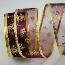 LUXURY Wired Ribbon Burgundy Organza glitter twinkle snowflake 40mm Christmas