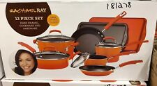 Rachel Ray Cookware Pots Pans Set Nonstick Non Stick Enamel Orange Rachael NEW