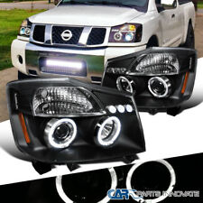 For Nissan 04-15 Titan Armada Black LED Halo Projector Headlights Driving Lamps