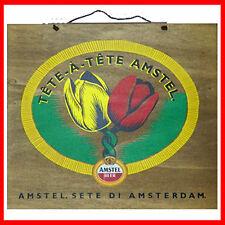 """Quadro Birra Amstel """" Tete a tete """" Legno Olanda tulipani arredo pub kit stock"""
