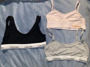 3 Pack Calvin Klein Girls' Cotton Training Bra Adjustable Straps, YS
