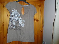 Pretty brown scoop neck top, floral design, CHEROKEE, size 14, excellent cond