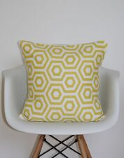 "CUSHION COVER 16"" PRESTIGIOUS HEX FABRIC SAFFRON GEOMETRIC RETRO YELLOW MUSTARD"