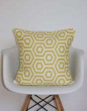 "16"" INCH CUSHION COVER SAFFRON MUSTARD YELLOW CREAM HEX PRINT RETRO GEOMETRIC  *"