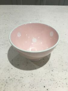 Susie Watson Pink White Spot French Bowl