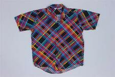Vintage Gotex Striped Checkered Neon Swag Hip Hop Hipster Shirt M