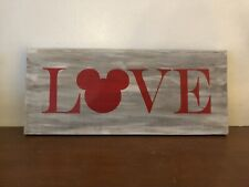 Disney Love Painted Wooden Sign Valentine's Day Mickey Mouse handcrafted