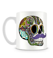Man and Woman Mexican Tattoo Skull With Moustache Design Mug