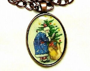 VICTORIAN CHRISTMAS SANTA CLAUS WEARING BLUE HANDMADE COPPER PENDANT NECKLACE