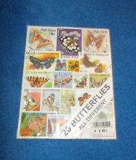 Vintage Postage Stamps 20 Different Butterflies Sealed