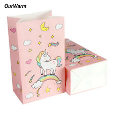 12×Unicorn Paper Gift Bags  Pink Candy Bag Baby Shower Birthday Candy Box Supply