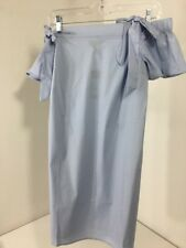 NEW LOOK WOMEN'S TIE BARDOT OFF THE SHOULDER DRESS SKY BLUE UK:8/US:4 NWT