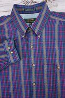 COLOURS Alexander Julian Men's Bright Woven Plaid Striped Shirt - Large 16-16.5