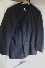 Vintage USN US Navy Black Wool Corduroy Pocket Pea Coat Peacoat  Small 36