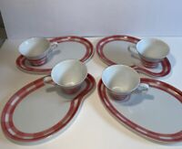 Set of 4 Vintage Snack Plates & Cups Seyei Fine China Japan Pink Plaid Tea Party