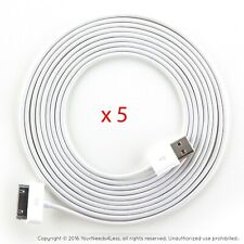 5x 10ft White Data Sync Charging cable for iPhone 3 3g 3gs 4 4g 4s iPod touch