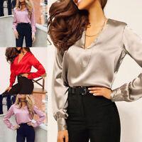 Women's V-Neck Long Sleeve Silk Satin Blouse Shirt Tops