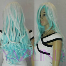 Long Wavy Curly White Silver Blue Mix Layered Ramp Bang Full Wig Cosplay