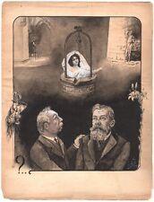 L.D.B. Lavis et gouache - La Vérité sortant du puits. 1909.