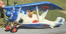"Vintage 20"" Chalkware Airplane Bi-Plane Wall Decor Open Cockpit Pilot Aviation"