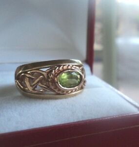 EARLY Welsh 9ct Clogau Gold Peridot Celtic Ring h/m 1996 - size N to O