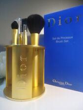 Luxury CHRISTIAN DIOR Vintage Mat Satin Gold 4 Piece Brush Set & Stand New Box