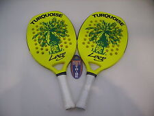 COPPIA RACCHETTE BEACH TENNIS RACKET TURQUOISE LOGO YELLOW 2015 IDEA REGALO