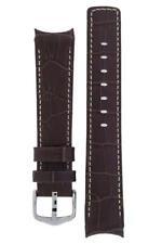 Hirsch PRINCIPAL Curved End Leather watch Strap DARK BROWN & WHITE 20MM