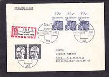 Bund Bauw 457 OberRd waager.Paar, echtgelaufen R-Brief ! seltene Verwendung