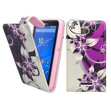 Hülle Für Sony Xperia E4G Lila Creme Blumen Flip PU Leder Etui Handy Cover