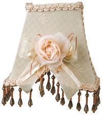 "Victorian Night Light Off-White w/ Trim Rosette & Hanging Beads 6.5"" x 5"""