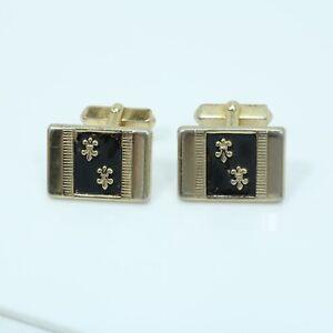 Vintage Swank Gold Tone Black Enamel Cufflinks